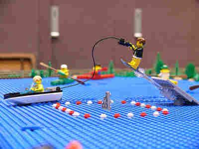 Lego Fonz jumping the shark.